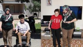 Bedensel engelli iki çocuğuna gözü gibi bakıyor