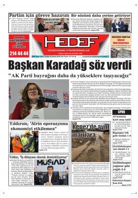 Çanakkale Hedef Gazetesi - 23.01.2018 Manşeti