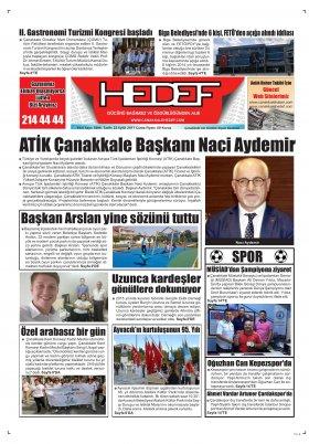 Çanakkale Hedef Gazetesi - 22.09.2017 Manşeti