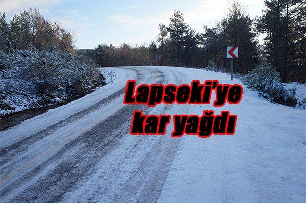 Lapseki'ye kar yağdı