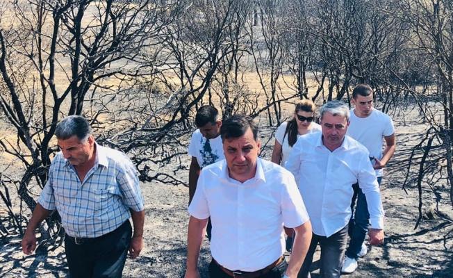CHP'li Vekil Ceylan yangın alanını inceledi