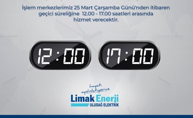 Limak Enerji İşlem Merkezleri, hizmet saatlerini güncelledi