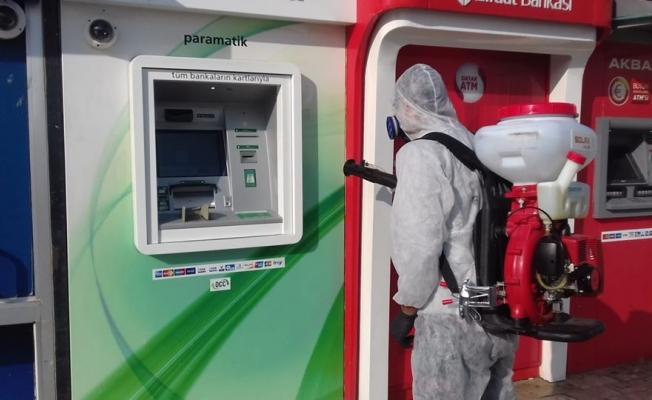 ATM'lerde dezenfekte çalışması