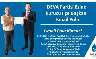 DEVA Partisi Ezine Kurucu İlçe Başkanı belli oldu