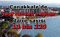 Çanakkale'de yapı ruhsatı verilen daire sayısı 13 bin 229