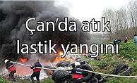 Çan'da atık lastik yangını
