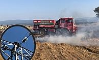 10 dönüm buğday tarlası yandı