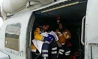 Askeri helikopterle hastaneye götürüldü
