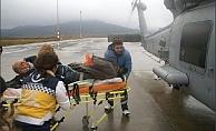Gökçeada'dan helikopterle Çanakkale'ye getirildi