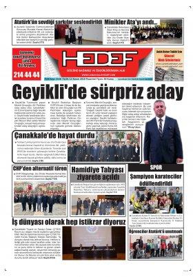 Çanakkale Hedef Gazetesi - 12.11.2018 Manşeti