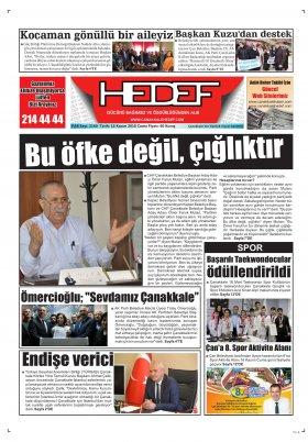 Çanakkale Hedef Gazetesi - 16.11.2018 Manşeti