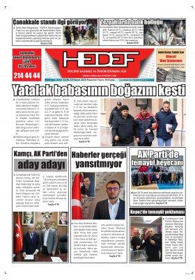 Çanakkale Hedef Gazetesi - 19.11.2018 Manşeti