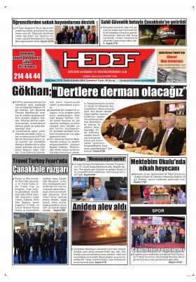 Çanakkale Hedef Gazetesi - 08.12.2018 Manşeti