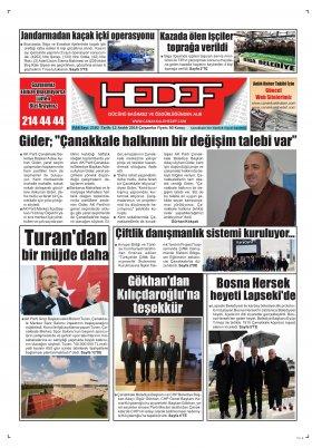 Çanakkale Hedef Gazetesi - 12.12.2018 Manşeti