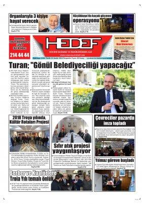 Çanakkale Hedef Gazetesi - 13.12.2018 Manşeti