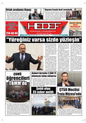 Çanakkale Hedef Gazetesi - 14.12.2018 Manşeti