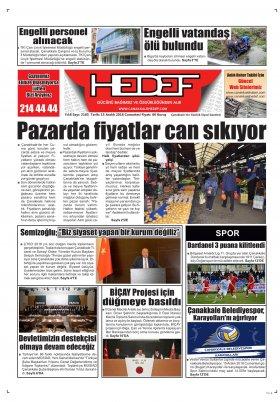 Çanakkale Hedef Gazetesi - 15.12.2018 Manşeti