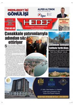 Çanakkale Hedef Gazetesi - 16.02.2019 Manşeti