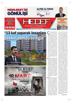 Çanakkale Hedef Gazetesi - 18.03.2019 Manşeti