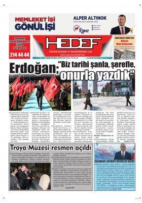 Çanakkale Hedef Gazetesi - 19.03.2019 Manşeti