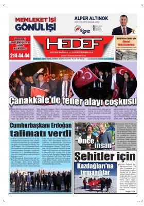 Çanakkale Hedef Gazetesi - 20.03.2019 Manşeti