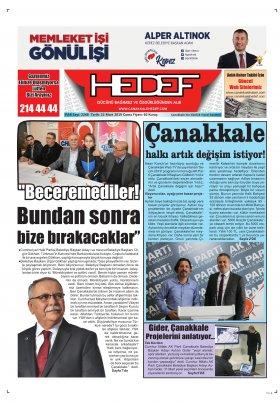 Çanakkale Hedef Gazetesi - 22.03.2019 Manşeti