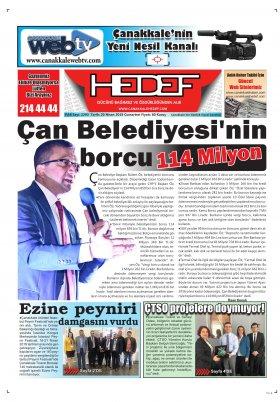 Çanakkale Hedef Gazetesi - 20.04.2019 Manşeti
