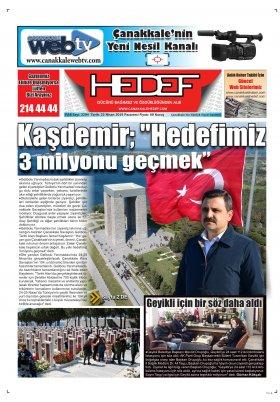 Çanakkale Hedef Gazetesi - 22.04.2019 Manşeti