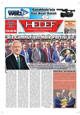 Çanakkale Hedef Gazetesi - 23.04.2019 Manşeti
