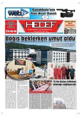 Çanakkale Hedef Gazetesi - 19.05.2019 Manşeti