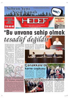 Çanakkale Hedef Gazetesi - 15.06.2019 Manşeti