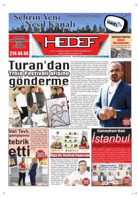 Çanakkale Hedef Gazetesi - 20.06.2019 Manşeti