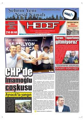 Çanakkale Hedef Gazetesi - 25.06.2019 Manşeti