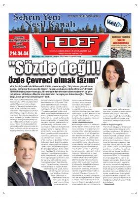 Çanakkale Hedef Gazetesi - 19.07.2019 Manşeti