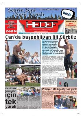 Çanakkale Hedef Gazetesi - 22.07.2019 Manşeti