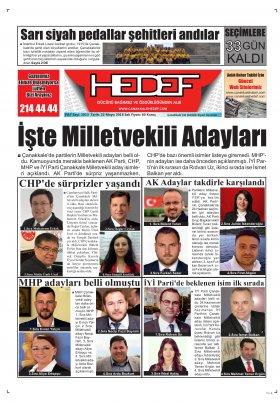 Çanakkale Hedef Gazetesi - 22.05.2018 Manşeti