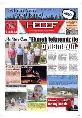 Çanakkale Hedef Gazetesi - 17.08.2019 Manşeti