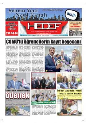 Çanakkale Hedef Gazetesi - 20.08.2019 Manşeti