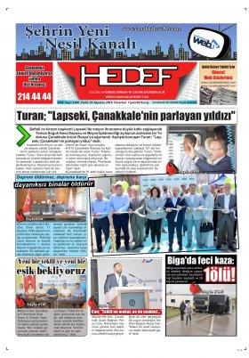 Çanakkale Hedef Gazetesi - 19.08.2019 Manşeti