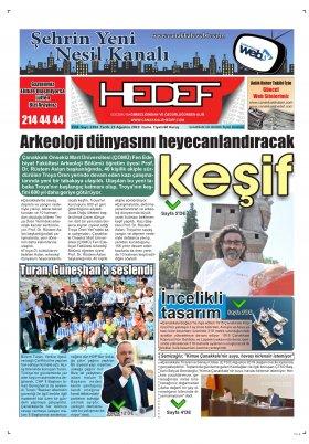 Çanakkale Hedef Gazetesi - 23.08.2019 Manşeti
