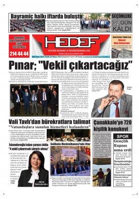 Çanakkale Hedef Gazetesi - 23.05.2018 Manşeti