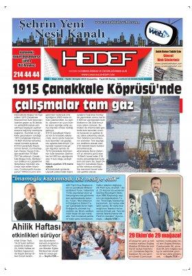 Çanakkale Hedef Gazetesi - 18.09.2019 Manşeti