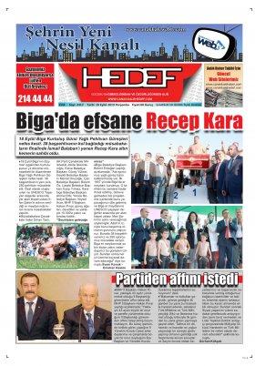 Çanakkale Hedef Gazetesi - 19.09.2019 Manşeti