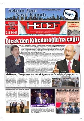 Çanakkale Hedef Gazetesi - 20.09.2019 Manşeti