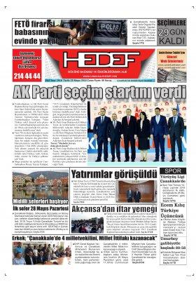 Çanakkale Hedef Gazetesi - 25.05.2018 Manşeti