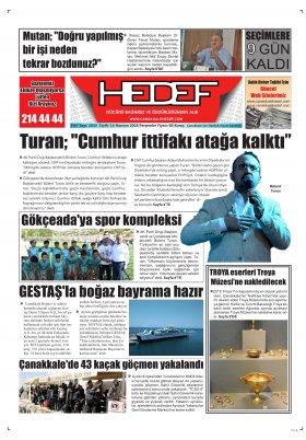 Çanakkale Hedef Gazetesi - 17.06.2018 Manşeti