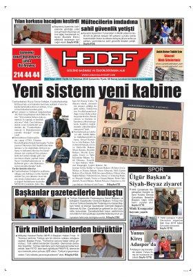 Çanakkale Hedef Gazetesi - 11.07.2018 Manşeti