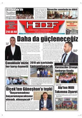 Çanakkale Hedef Gazetesi - 14.08.2018 Manşeti