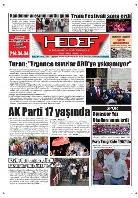 Çanakkale Hedef Gazetesi - 15.08.2018 Manşeti