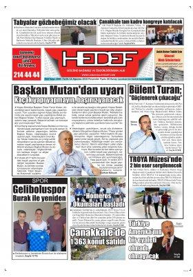 Çanakkale Hedef Gazetesi - 16.08.2018 Manşeti